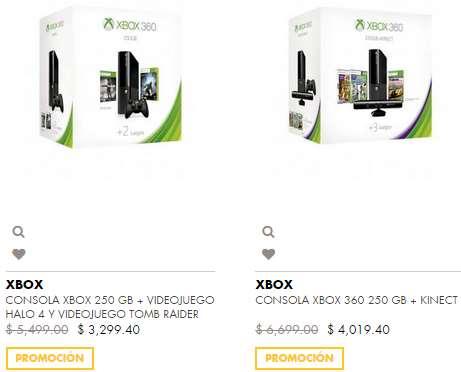 Ofertas de Hot Sale México 2014 en El Palacio de Hierro: Xbox 360 250GB + 2 juegos $3,299