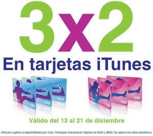 Sam's Club: 3x2 en tarjetas iTunes
