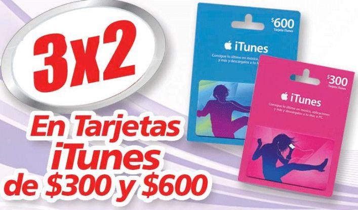 Soriana: 3x2 en tarjetas iTunes
