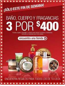 The Body Shop: 3 productos por $400