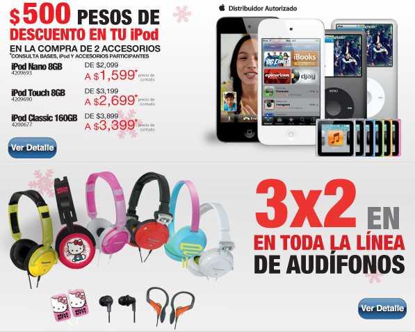 RadioShack: $500 de descuento en iPods comprando 2 accesorios, 3x2 en audífonos
