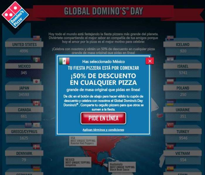 Global Domino's Day: pizza grande en Dominos Pizza a $50 sólo hoy