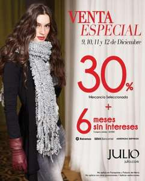 Venta Especial Julio: 30% de descuento en mercancía seleccionada y 6 MSI