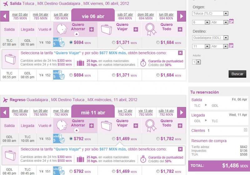 Volaris: sencillos desde y hacia Toluca $699 y redondos a USA $250