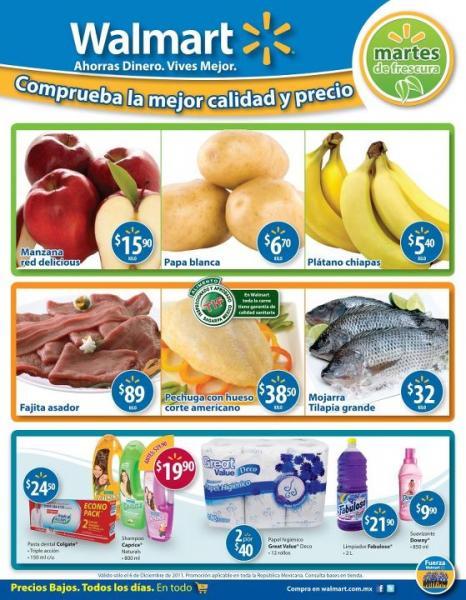 Martes de frescura Walmart diciembre 6: plátano $5.40, papa $6.70 y más