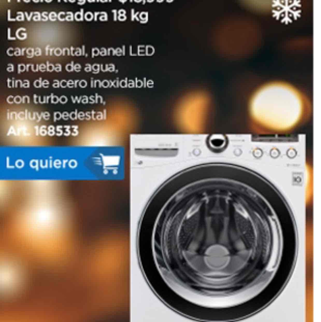 Sam's Club: Lavasecadora LG 18 Kg Blanca LG