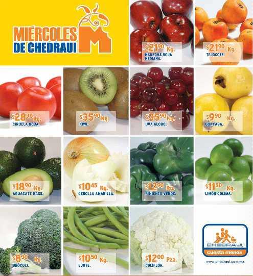 Miércoles frutas y verduras Chedraui noviembre 30: naranja $2.90, papa $7.90 y más