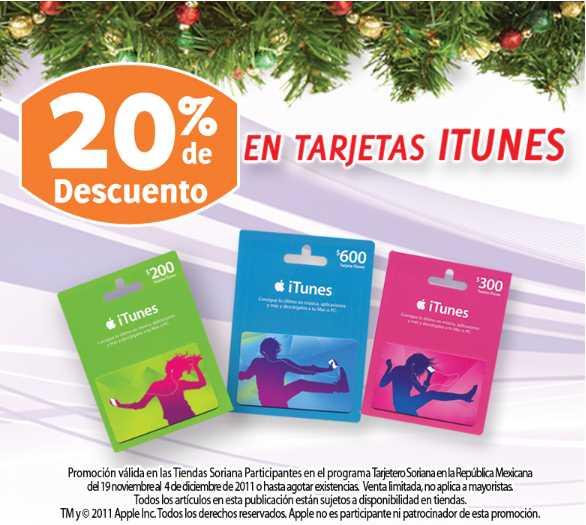Soriana: 20% de descuento en tarjetas iTunes