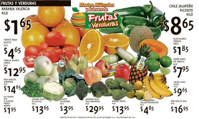 Ofertas de frutas y verduras en HEB y Soriana (norte) noviembre 29