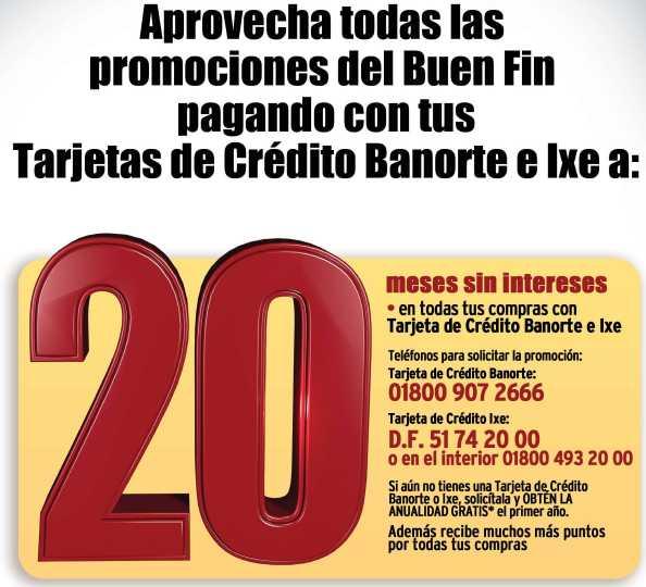 Buen Fin IXE y Banorte: 20 meses sin intereses y primera anualidad gratis