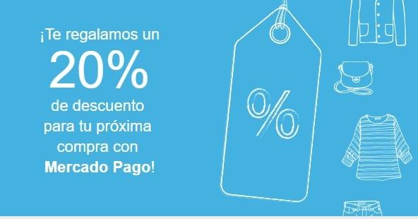 Cupón de 20% de descuento usando Mercado Pago
