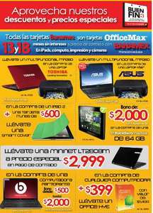 Ofertas del Buen Fin OfficeMax: bono de $2,000 en BlackBerry PlayBook, Office $399 con compu, 3x2 en iTunes y más