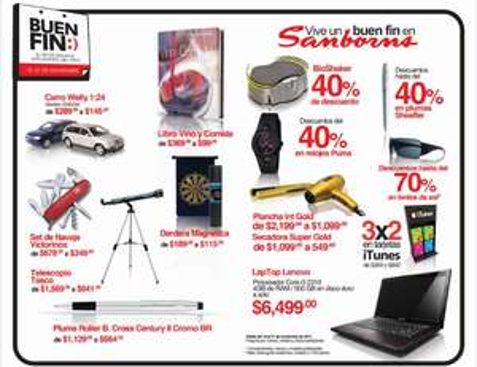 Ofertas den Buen Fin en Sanborns: 3x2 en tarjetas iTunes, 40% en relojes Puma y más