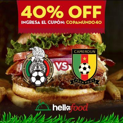 Hellofood: cupón de 40% de descuento