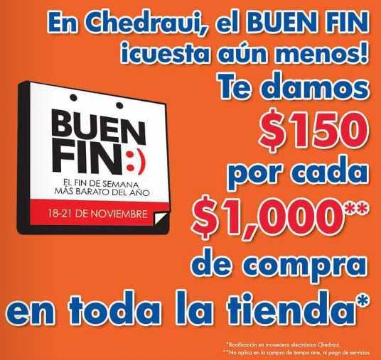 Ofertas del Buen Fin en Chedraui: $150 de bonificación por cada $1,000 de compra