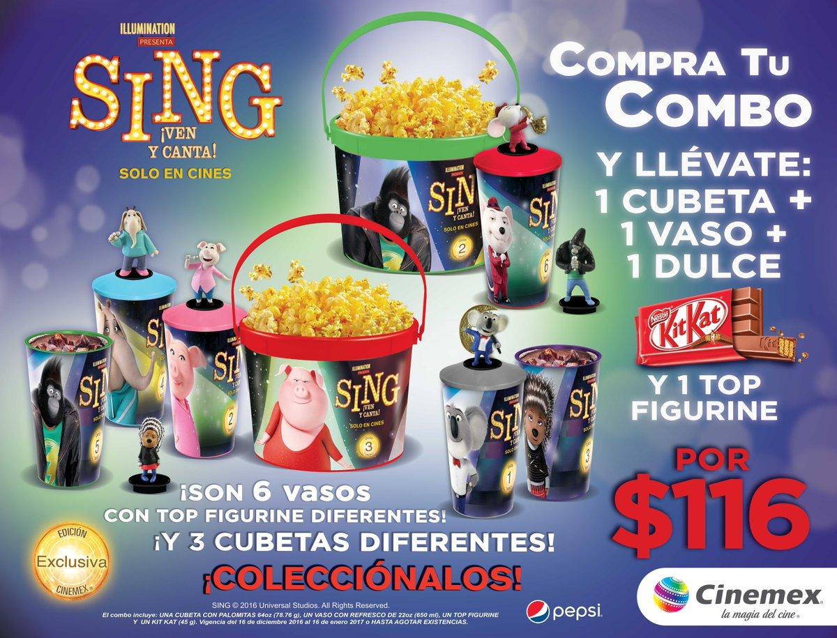 Cinemex: Combo Sing, cubeta+vaso+dulce+top figurin por $116.00