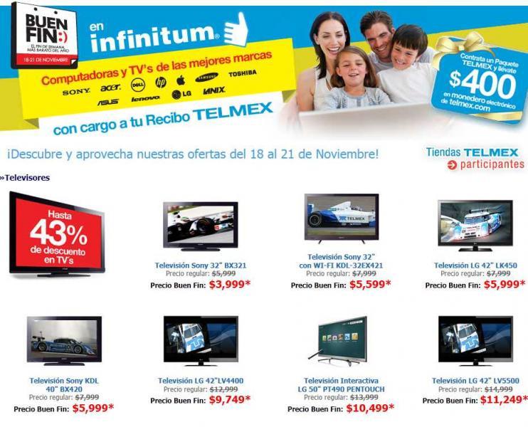 """Ofertas del buen fin en Tiendas Telmex: pantalla Sony 40"""" $5,999, LG Touch 50"""" $10,499 y más"""