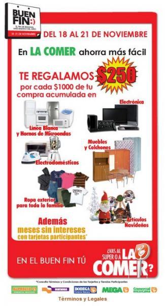 Ofertas del Buen Fin en Comercial Mexicana: $250 por cada $1,000