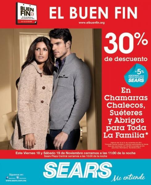 Ofertas del buen fin en Sears: 30% de descuento en ropa de invierno y más