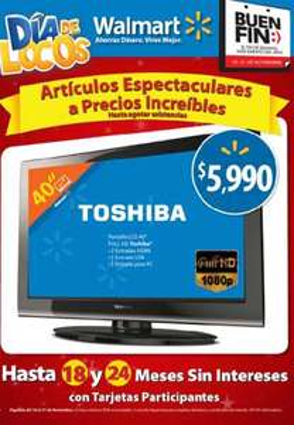 """Ofertas del Buen Fin Walmart: pantalla LCD 32"""" $3,690, de 40"""" $5,990, refrigerador 14' $3,990 y más"""
