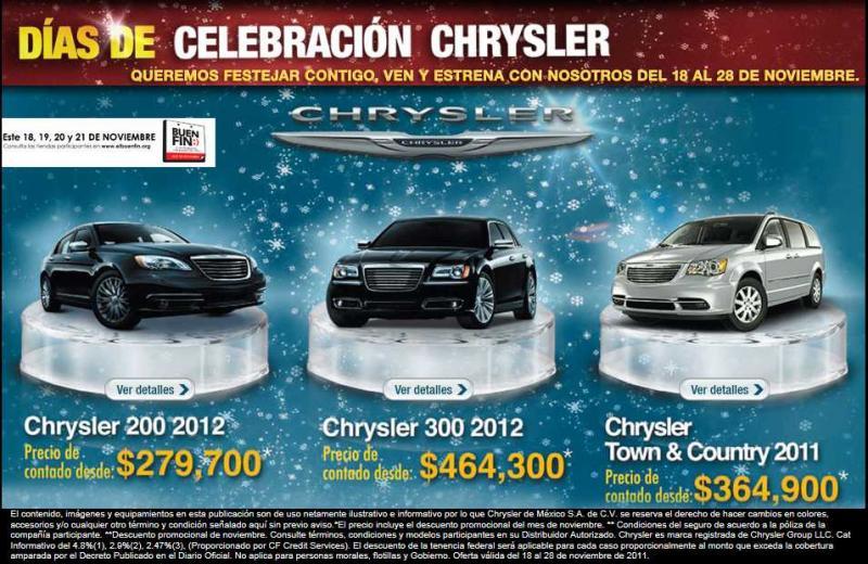Ofertas Buen Fin Chrysler: Chrysler 200 2012 desde $279,700 y más