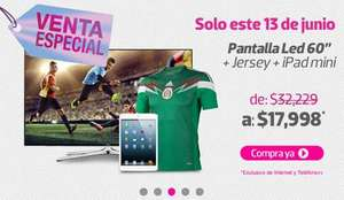 "Liverpool: pantalla LED Samsung 60"", jersey de México y iPad Mini $17,998 y meses sin intereses"