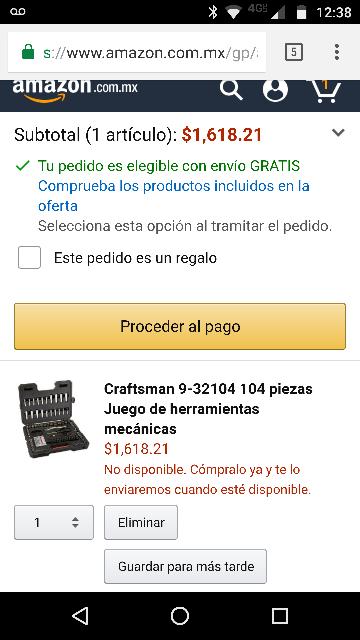 Amazon: Juego de herramientas Craftsman 9-32104 104