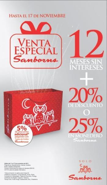 Venta Especial Sanborns: 12 MSI más 20% de descuento o 25% en monedero