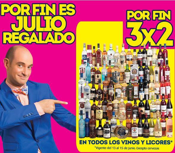 Julio Regalado: 3x2 en todas las botellas de vinos y licores
