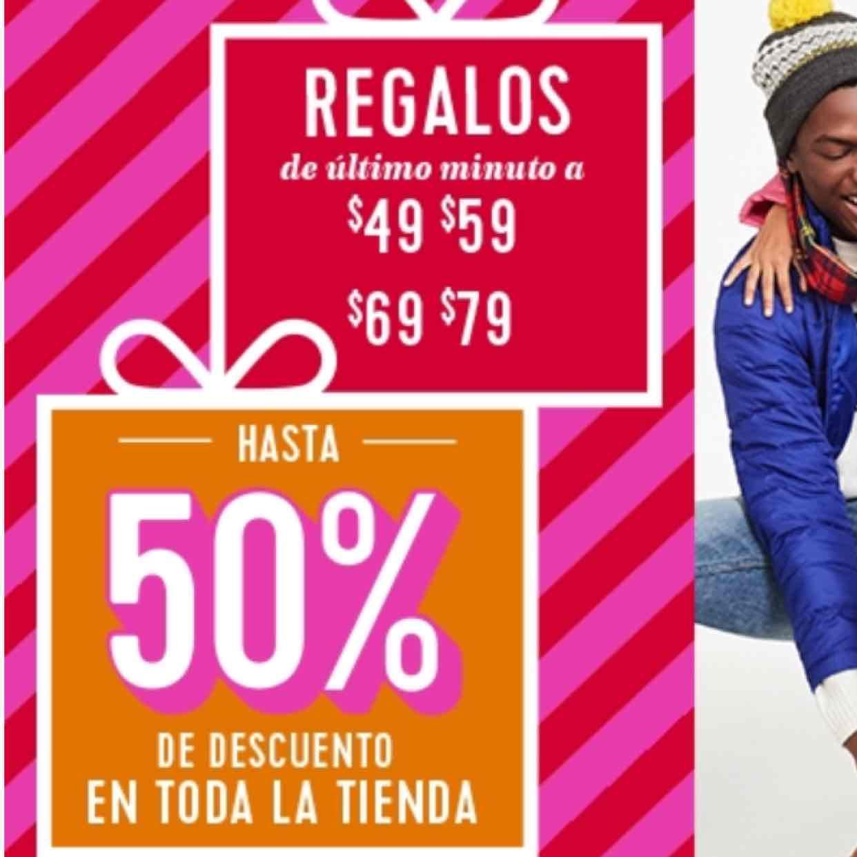 Old Navy: 50% Toda la tienda, Regalos navideños y Ofertas del Día