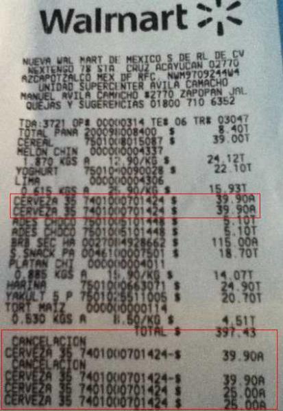 Walmart: 2 six de cerveza por $50