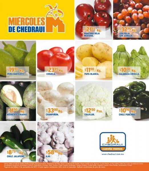 Miércoles frutas y verduras Chedraui noviembre 2: aguacate $13.80 , piña $9.90 y más