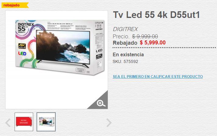 "HEB: pantalla LED 55"" 4K Digitrex a $5,999"
