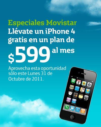 Movistar: iPhone 4 gratis en plan de $599 por 24 meses