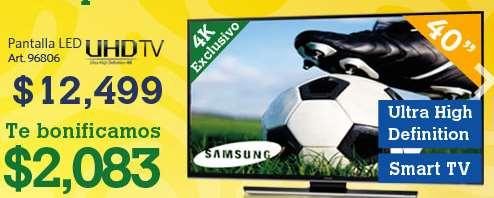 "Sam's Club: pantalla Ultra HD 40"" $12,499 + $2,083 de bonificación"