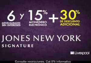 Liverpool: 6 MSI, 15% en monedero y 30% de descuento adicional en Jones New York