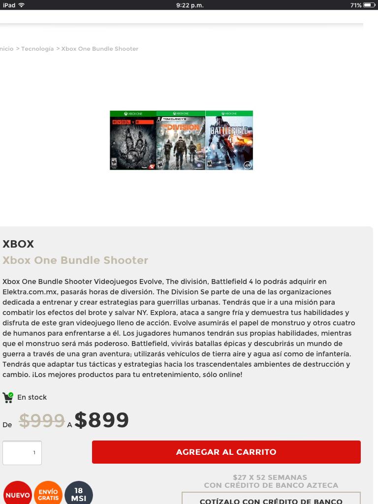 Elektra: 3 Juegos para XBOX ONE