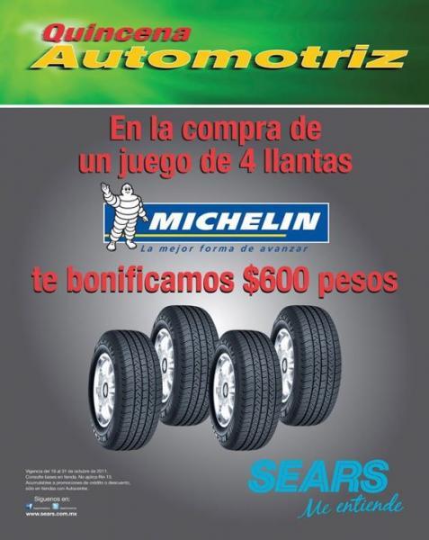 Sears: bonificación de $600 en la compra de juego de llantas Michelin