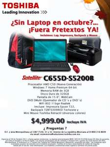 Laptop Toshiba con impresora, backpack y mouse a $4,999