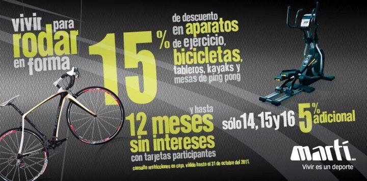 Martí: 15% de descuento, 12 MSI y 5% adicional en aparatos de ejercicio, bicicletas, kayaks y +
