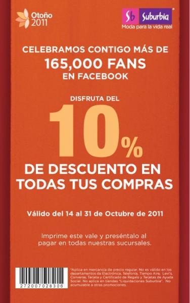 Suburbia: cupón para 10% de descuento y 15% en monedero al comprar un celular