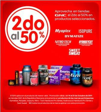 GNC: lleva el segundo con 50% de descuento en productos seleccionados