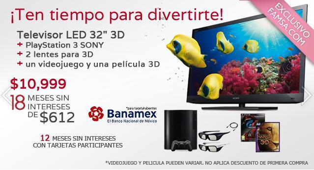 """Famsa: pantalla Sony LED 32"""" 3D, PlayStation 3, 2 lentes, juego y película a $10,999 y 18 MSI"""