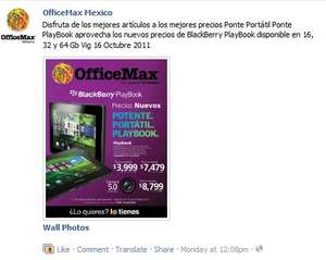 OfficeMax: rebaja de tablet BlackBerry PlayBook de $6,999 a $3,999