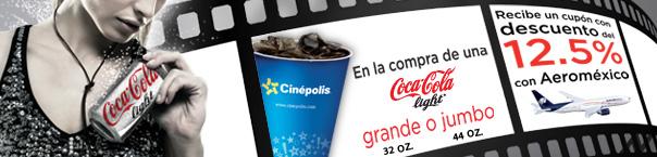Aeroméxico: 12.5% de descuento al comprar Coca Light en Cinépolis