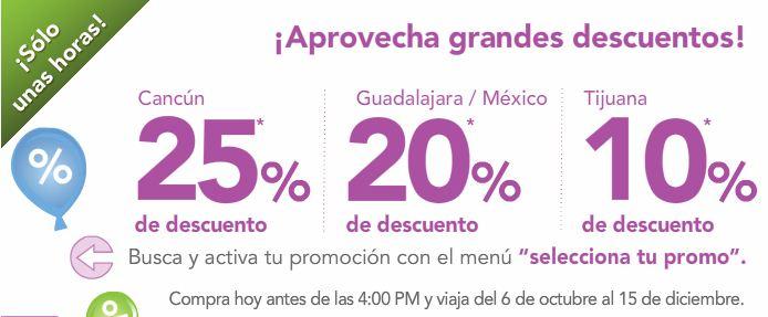 Volaris: Hasta 25% de descuento en rutas de y hacia Cancún, GDL, DF y Tijuana sólo unas horas