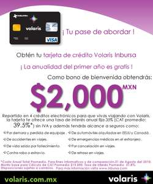 Tarjeta de crédito Volaris Inbursa: certificados por $2,000 y primer año gratis