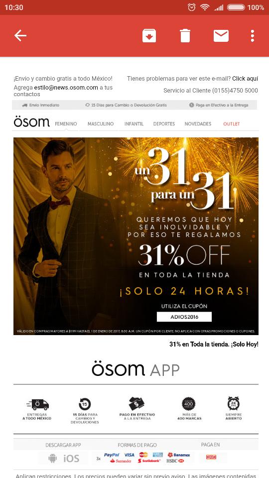 Osom: 31% de descuento en toda la tienda.