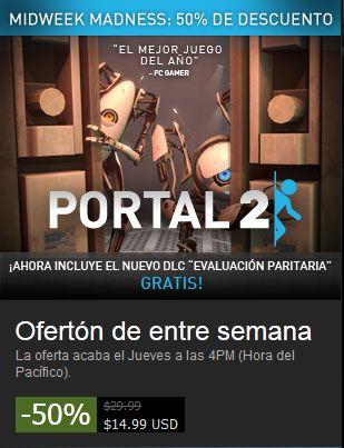 Steam: 50% de descuento en Portal 2 para PC con DLC gratis
