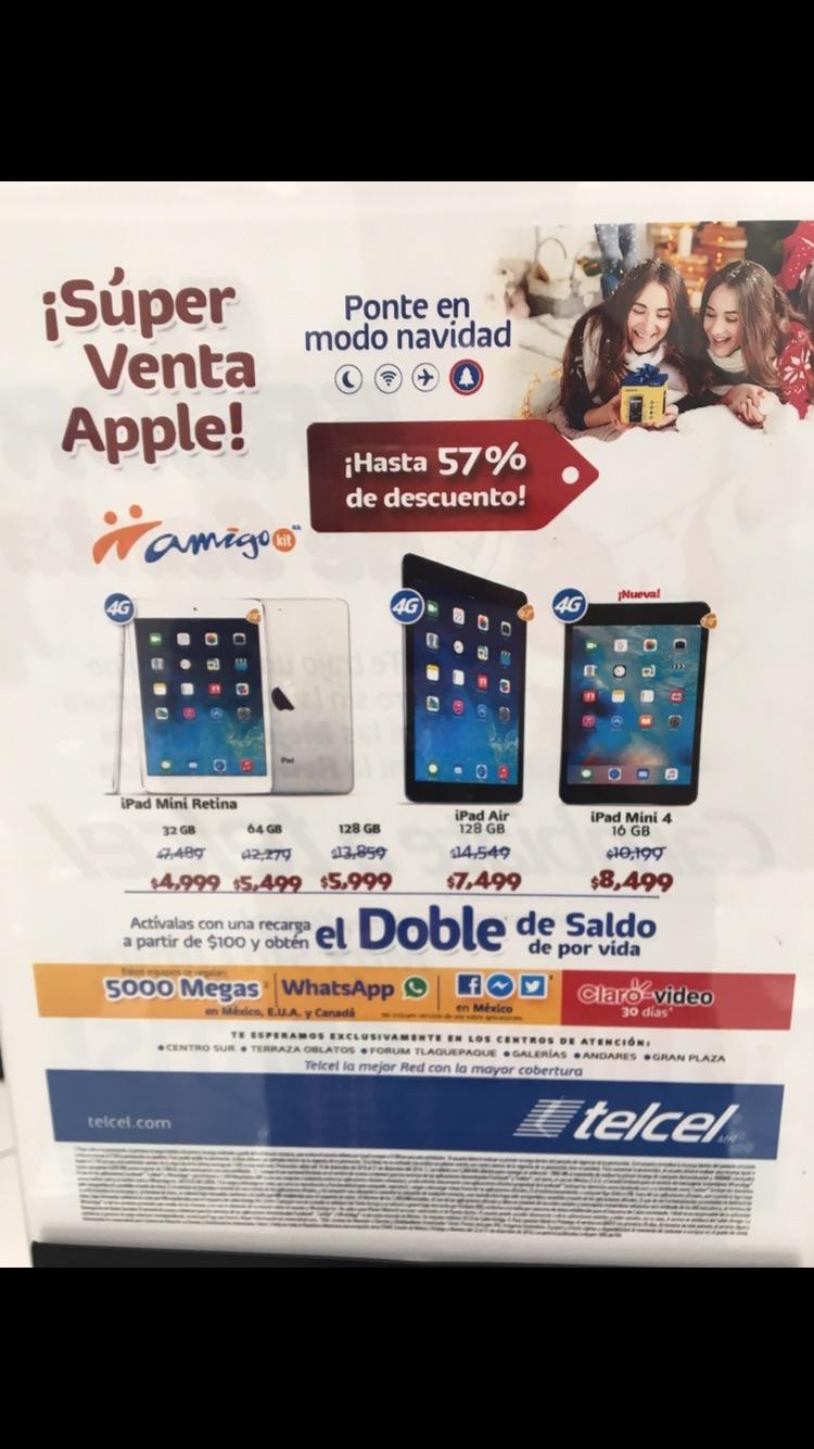 Telcel: iPad Mini Retina Wi-Fi/4G LTE 50% y iPad Air Wi-Fi/4G LTE 40%